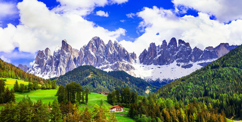 Breathtaking scenery of Dolomites mountains. beauty in nature. N