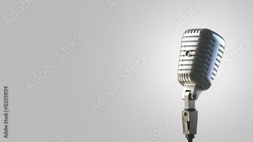 Fotografie, Obraz  Microfono da cantante vintage o retrò