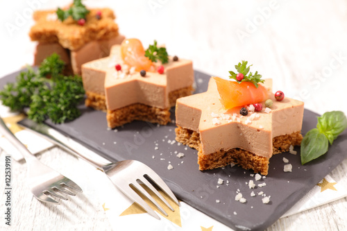 Canvas Prints Appetizer christmas canape with gingerbread and foie gras
