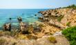 Scenic golden cliffs near Alvor, Portimao, Algarve