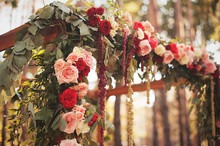 Beautiful Wedding Arch Decorated With Flowers