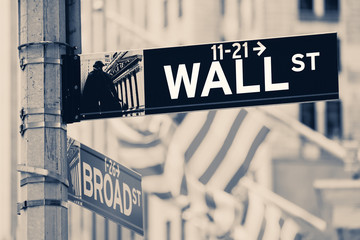 Vintage looking Wall street sign in New York City