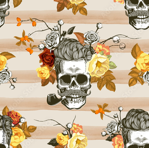 Printed kitchen splashbacks Watercolor skull Autumn mood. Seamless pattern with the skulls, flowers and leaves in the background. Skull silhouette in engraving style. Vector