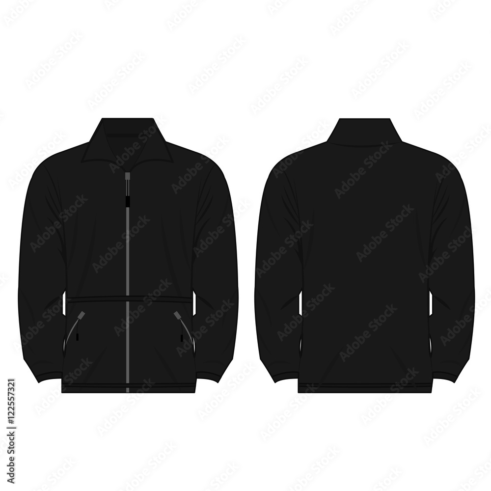Fototapeta black color fleece outdoor jacket isolated vector on the white background