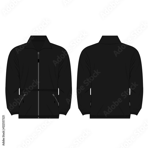 black color fleece outdoor jacket isolated vector on the white background Wall mural