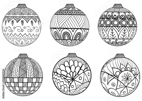 Zendoodles design of Christmas balls for adult coloring