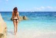 woman with perfect slim body walking on the beach