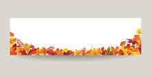 Fall Leaf Nature Banner. Autumn Leaves Background. Season Floral Border