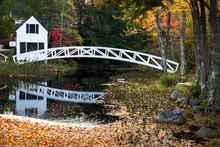 Wooden Arc Bridge In Somesville, Acadia National Park, Maine, USA