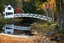 Wooden Arc Bridge In Somesville, Acadia National Park, Maine, USA