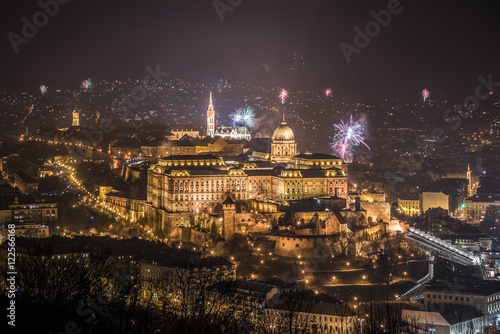 New Year Celebration. Buda Castle or Royal Palace in Budapest, Hungary with Fireworks at Night