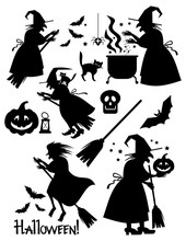 Halloween Set With Witches, Skull, Pumpkin, Cat, Broom Silhouettes. Vector Clip Art.