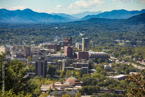 Downtown Asheville North Carolina And Blue Ridge Mountains
