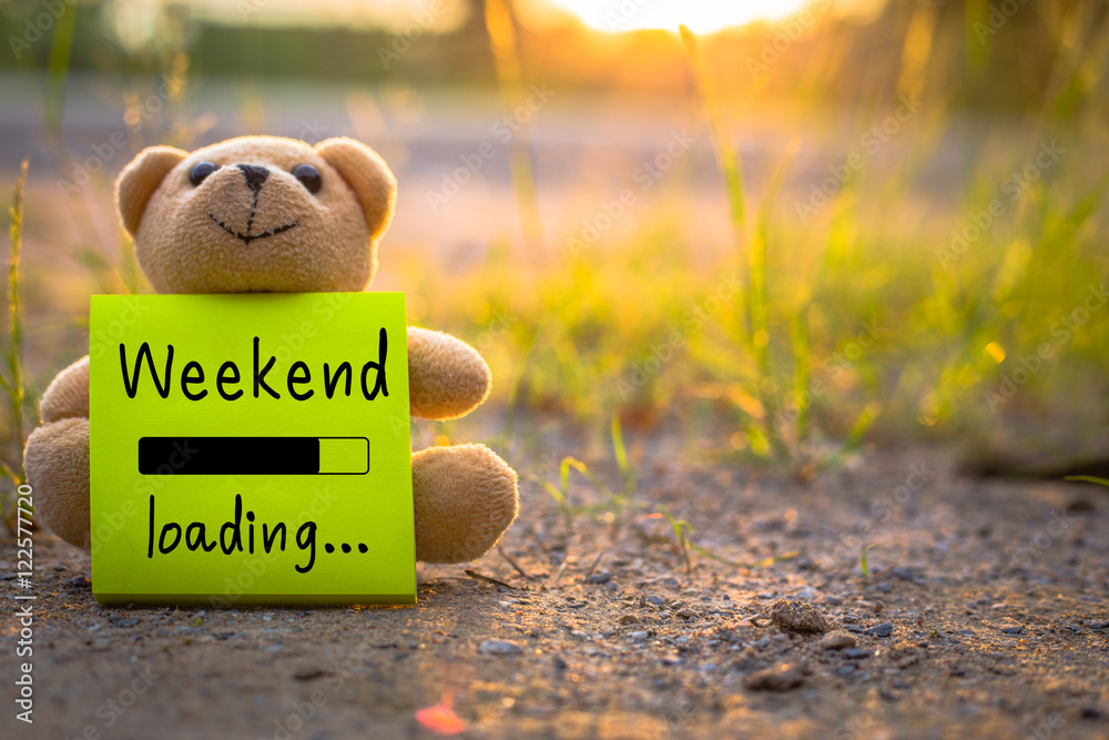 Fototapety, obrazy: Happy Weekend on sticky note with teddy bear on nature background