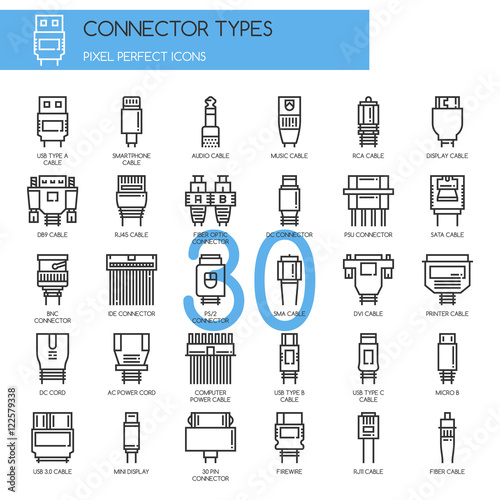 Fotografía  Connector Types , Thin Line and Pixel Perfect Icons