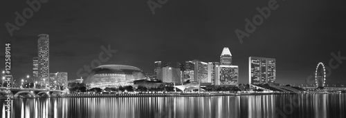 Spoed Foto op Canvas Grijze traf. Skyline of Singapore city at night