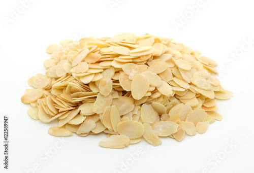 Fotografie, Obraz  Pile of sliced almonds on white background