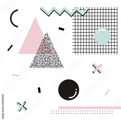 Geometric memphis background.Retro design for invitation, business card, poster or banner.