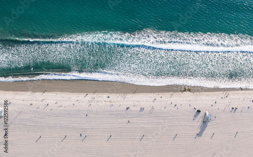 Staande foto Los Angeles Aerial view of Santa monica beach from helicopter