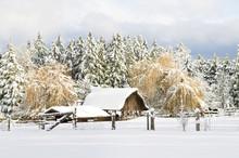 A Rural Farmhouse In Winter, Central Saanich Near Victoria, BC.