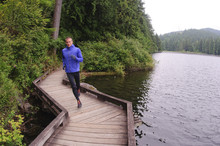 Running And Hiking On The Trail Around Sasamat Lake, Belcarra Regional Park, Port Moody, British Columbia, Canada