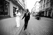 Handsome groom leads stylish bride in short veil while they walk