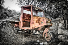 Old Cargo Tricycle In The Jungle Countryside, Greece