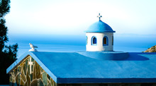Typical Blue Tower Of The Small Greek Church Is A Sign Of The Bi