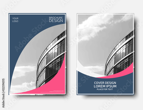 annual report cover brochure template pink and blue flyer layout