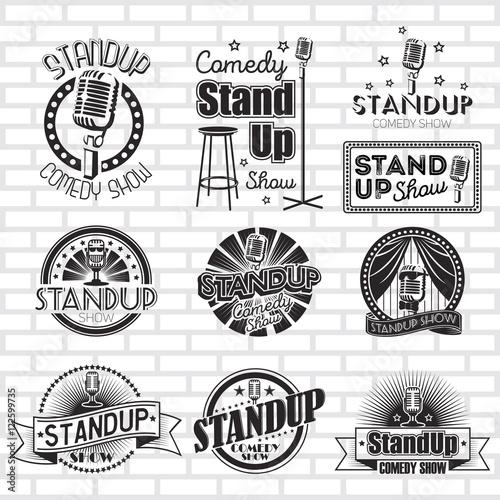 Fotografie, Tablou  Standup comedy show vector labels design