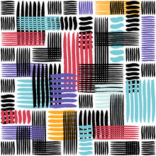 Abstract Geometric Grunge Vector Seamless Pattern With Red, Blue And Yellow Colors. Painted Lines Texture