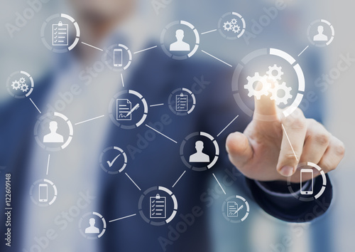 Automation of business workflows and processes with businessman Wallpaper Mural