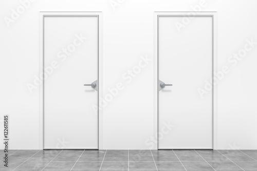 two white doors Wallpaper Mural