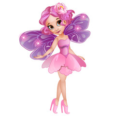 Fairy in pink dress with flower on head