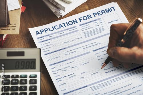 Fotografía  Application for Permit Form Authority Concept