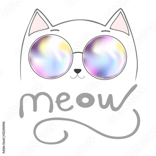 Photo cute cat with lettering - meow,  graphic illustration vector, Print, animal