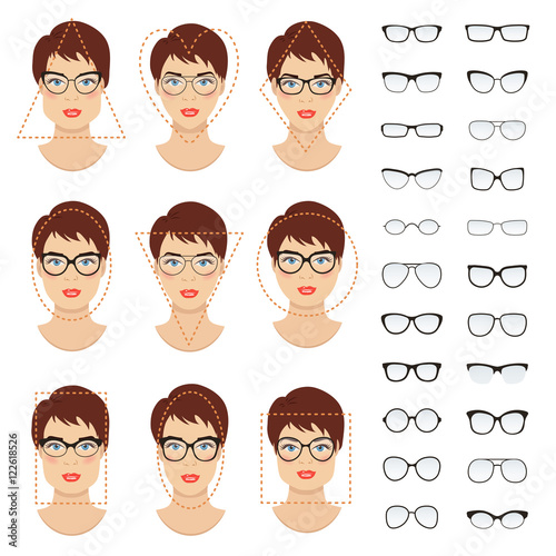 37b55a5619ed6 Woman eyeglasses shapes for different women face types - square ...
