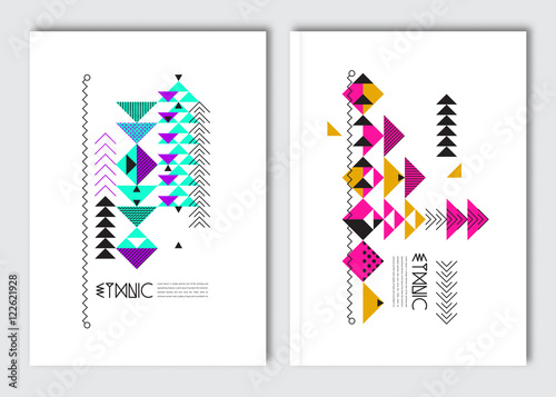 Foto auf AluDibond Boho-Stil Geometric colorful ethnic flyers. Vector abstract background templates - set of modern elements for brochure, poster, card, cover design.