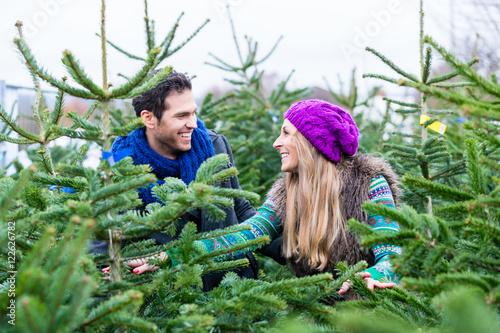 Fotografía  Frau und Mann kaufen Weihnachtsbaum auf Markt