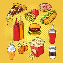 Vector Hand Drawn Pop Art Set Of Fast Food.
