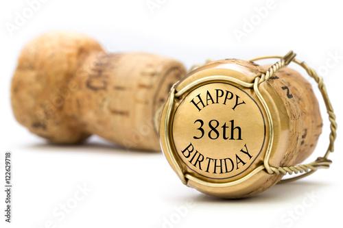 Tela  Happy 38th Birthday - Champagne