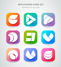Big Vector Icons Set For Application Logo Icon Design. App Icon Design. Material Design.