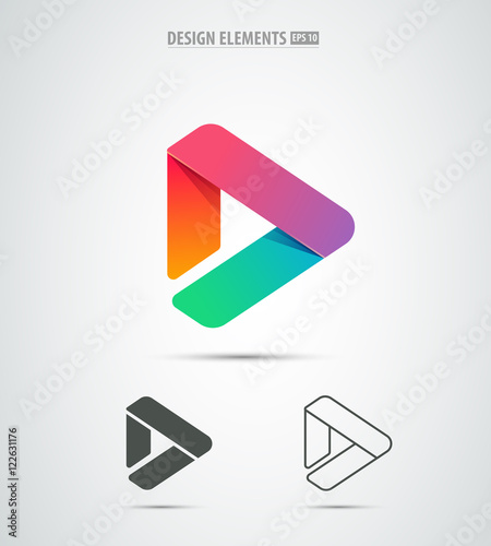 Vector play icon. Video application icon design template. Music ...