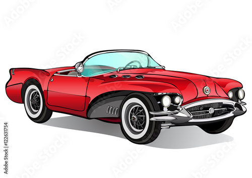 Staande foto Cartoon cars Vintage car. Retro red convertible without a roof with shadow. Vector isolated illustration