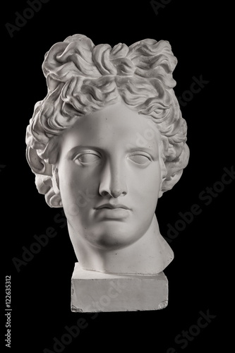 Stampa su Tela Gypsum statue of Apollo's head on a black background