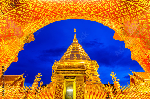 Garden Poster Temple Wat Phra That Doi Suthep is tourist attraction of Chiang Mai, Thailand