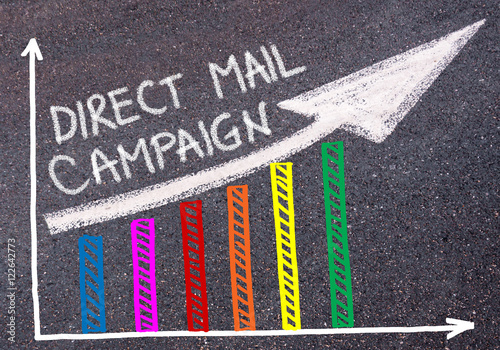 DIRECT MAIL CAMPAIGN written over colorful graph and rising arrow Poster