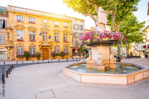 City hall building with fountain in Salon-de-Provence in France Canvas Print