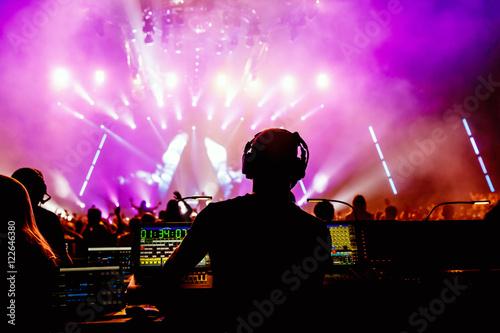 Fotografie, Obraz  Sound manager on live rock concert, disco show