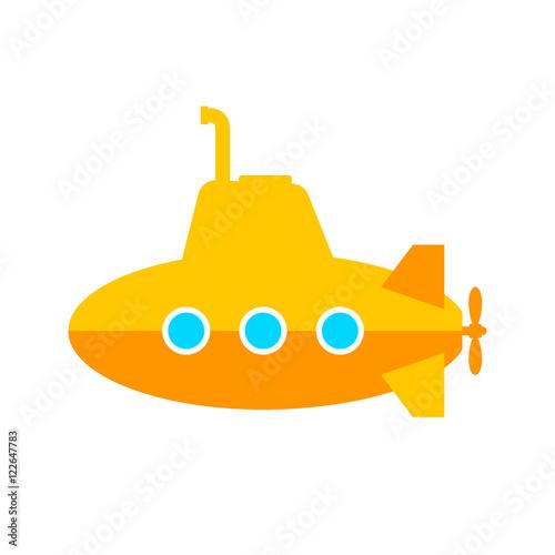 Láminas  Yellow submarine vector icon on white background